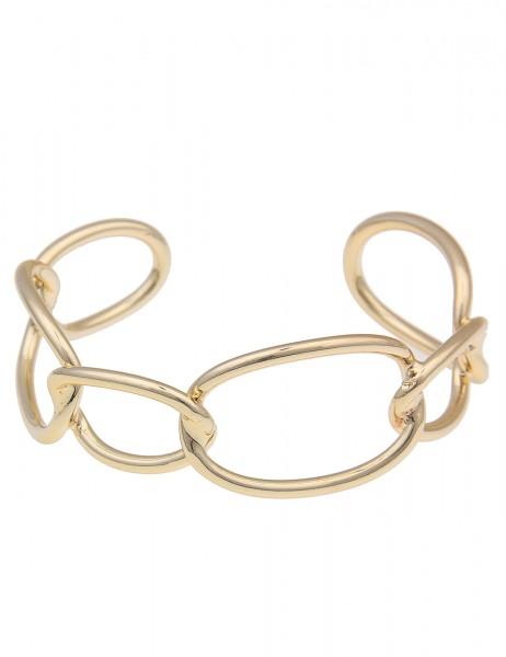Leslii Damenarmband Armreif Glieder Oval Statement Modeschmuck Größe 19cm in Gold