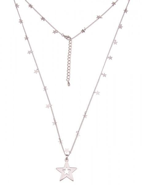 Leslii Damen-Kette Sternenglanz Silber Metalllegierung Hochglanz 83cm + Verlängerung 220116807