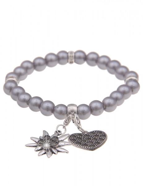 Leslii Damen-Armband Herz-Anhänger Edelweiß Oktoberfest Wiesn Dirndl graues Perlen-Armband Modeschmu