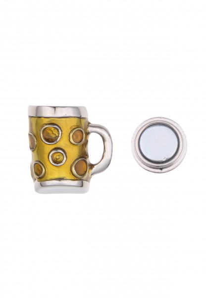 -50% Leslii Damen-Pin Magnet-Anstecker Alpenrock Bierkrug Silber Gelb Metalllegierung 2,7cm 27011630