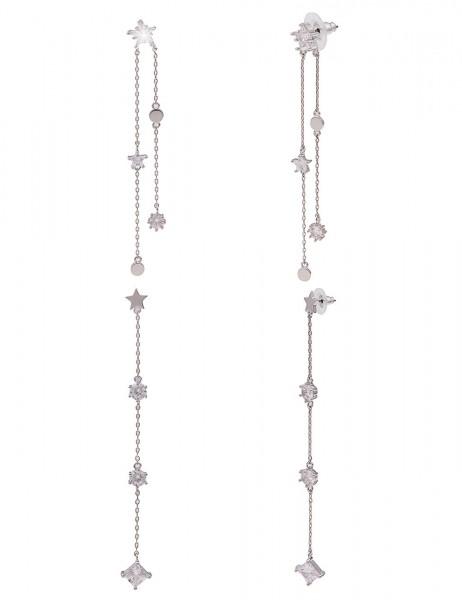 Leslii Damen-Ohrringe Ohrhänger Glitzer Sterne Strass-Ohrringe Stern-Ohrschmuck silberne Modeschmuck