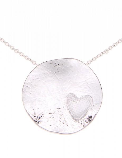 -70% SALE Leslii Halskette Herz-Welle Silber | kurze Damen-Kette Mode-Schmuck | 45cm + Verlängerung
