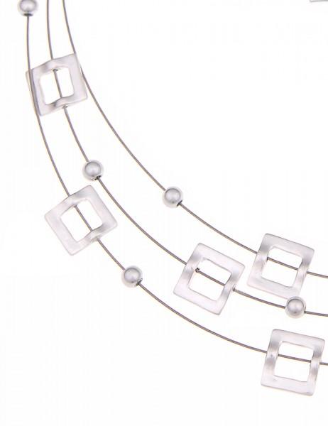 Leslii Halsreif Trend Quadrat Silber | kurze Damen-Kette Mode-Schmuck | 45cm + Verlängerung