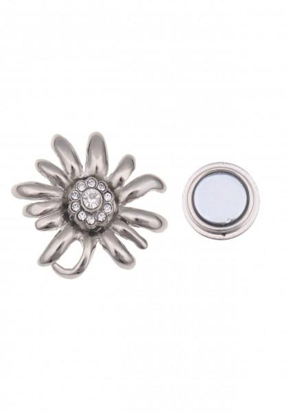 Leslii Damen-Pin Magnet-Anstecker Alpenrock Edelweiß Silber Metalllegierung Strass 3cm 270116309