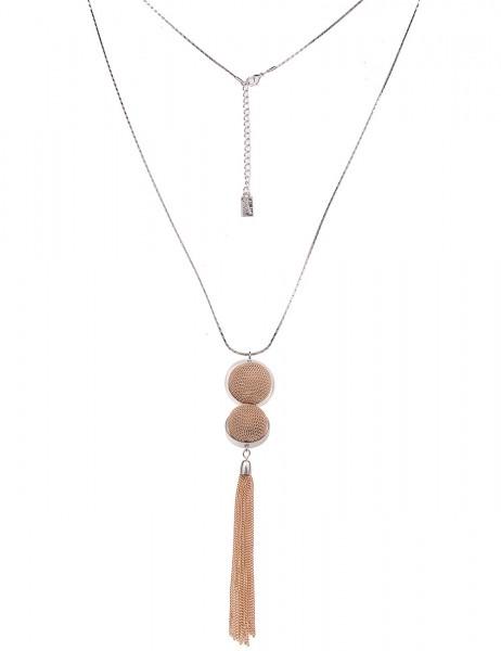 Leslii Damenkette Ketten-Kugel aus Metalllegierung Länge 80cm in Silber Gold