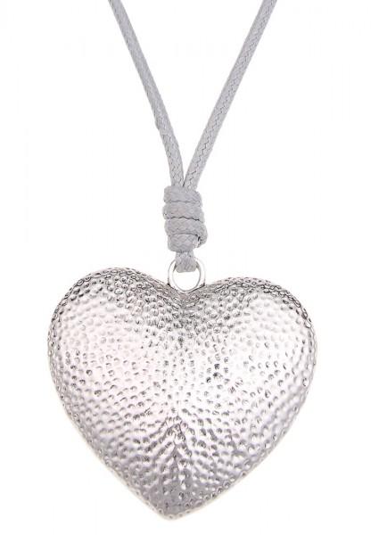 Leslii Sweetheart Grau Silber   Trendige lange Halskette   Damen Mode-Schmuck   85cm + Verlängerung