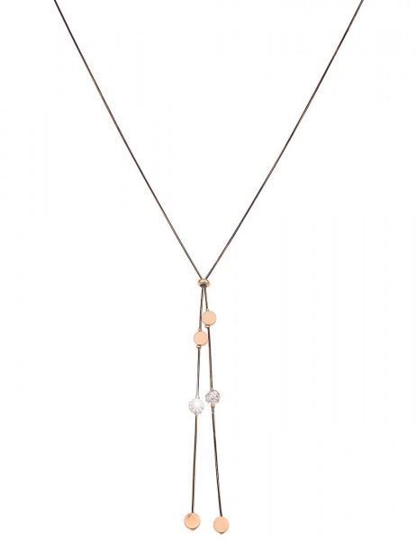 Leslii Damen-Kette Glitzer Strass-Kugel Y-Kette Bicolor lange Halskette schwarze Modeschmuck-Kette i
