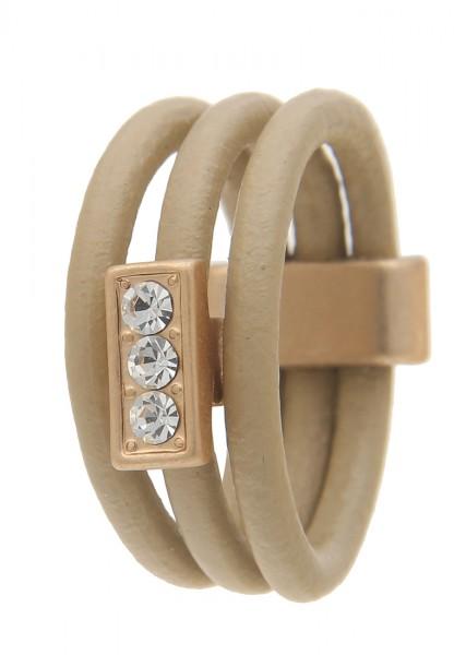 LAST CHANCE! Leslii Ring Simply Leder in Gold Beige 19mm