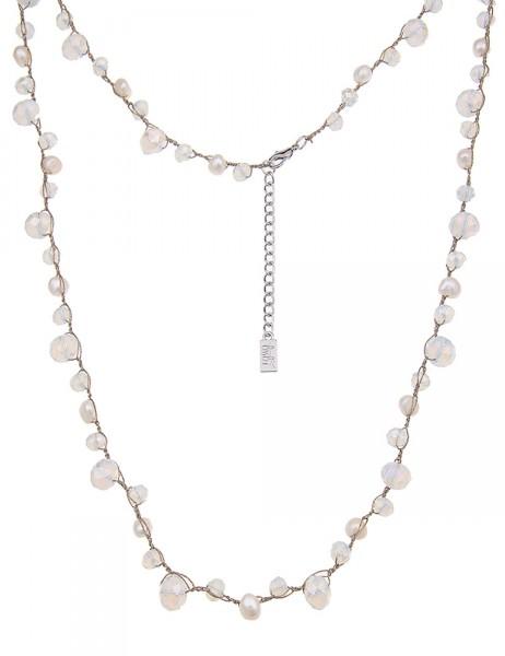 Leslii Damen-Kette Perlen-Mix Gold Weiß Glasperlen Metalllegierung 86cm + Verlängerung 220115698