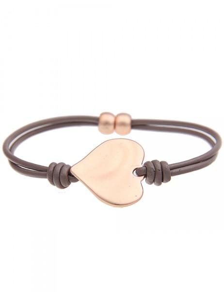 Leslii Damen-Armband Klassik Herz Braun Rosé Lederimitat Metalllegierung 19cm mit Magnet-Verschluss