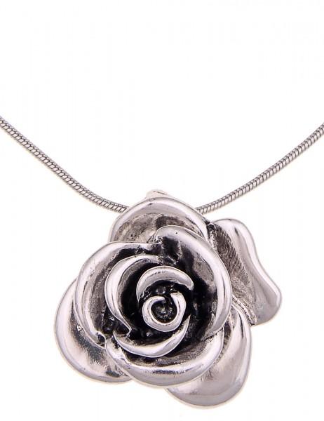 Leslii Halskette Rose Silber | kurze Damen-Kette Mode-Schmuck | 45cm + Verlängerung