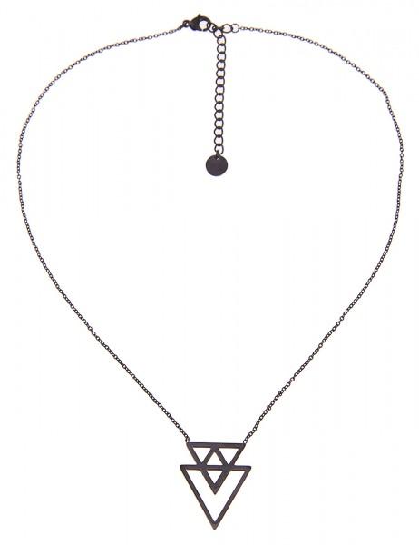 -50% SALE Leslii 4teen Damenkette Dreieck aus Metalllegierung Länge 39cm in Schwarz