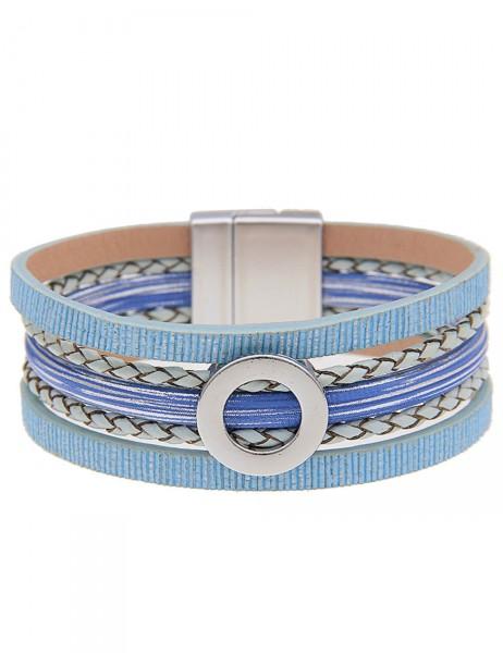 Leslii Damen-Armband Glanz-Ring Lederimitat 19,5cm mit Magnet-Verschluss 260415982