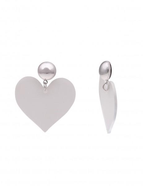 -50% SALE Leslii Damen-Ohrringe Ohrhänger Herzschlag Silber Metalllegierung Kunststoff 4,5cm 230216