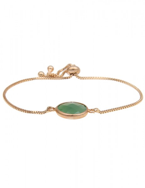 Leslii Damenarmband Rund aus Metalllegierung mit Naturstein Größe verstellbar Grün Gold
