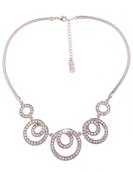 Leslii Damen-Kette Glitzer Spiralen Silber Weiß Metalllegierung Strass 44cm + Verlängerung 210116884