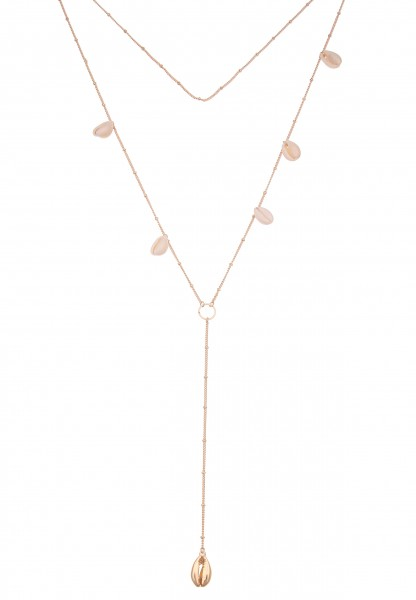 Leslii Damen-Kette Y-Kette Clara Muschel-Schmuck lange Halskette echte Muschel-Kette goldene Modesch
