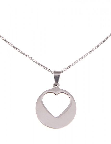 Leslii Halskette Herz-Muster Silber   kurze Damen-Kette Mode-Schmuck   45cm + Verlängerung