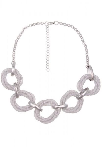 -50% SALE Leslii Kurze Halskette Netz Ringe Silber