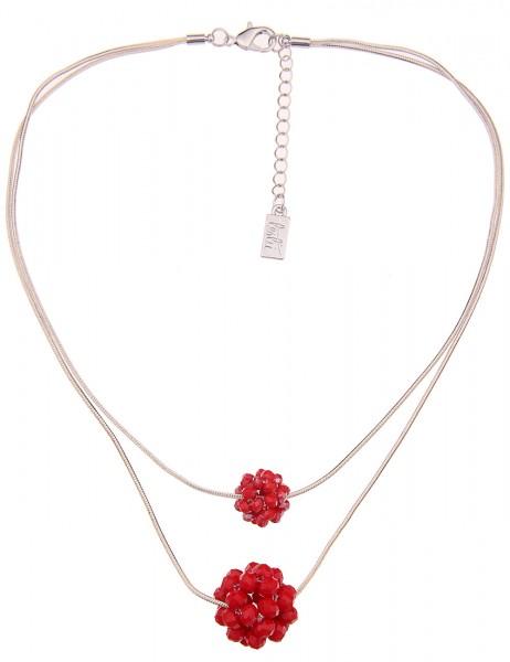 Leslii Damen-Kette Glasperlen-Kugeln Rot Weiß Zweireihig Metalllegierung 42cm + Verlängerung 2102165