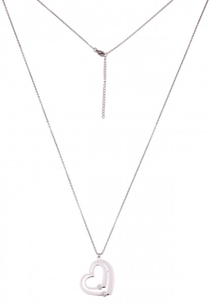 -50% SALE Leslii Damenkette Premium Quality Herz aus Edelstahl mit Strass Länge 82cm in Silber