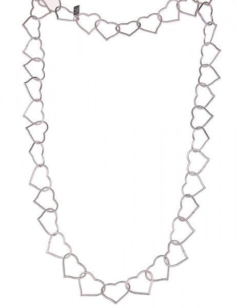 Leslii Halskette Herzglieder Silber | lange Damen-Kette Mode-Schmuck | 80cm