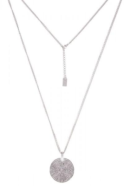 Leslii Glitzer Welle Silber   Trendige lange Kette   Damen Mode-Schmuck   85cm + Verlängerung