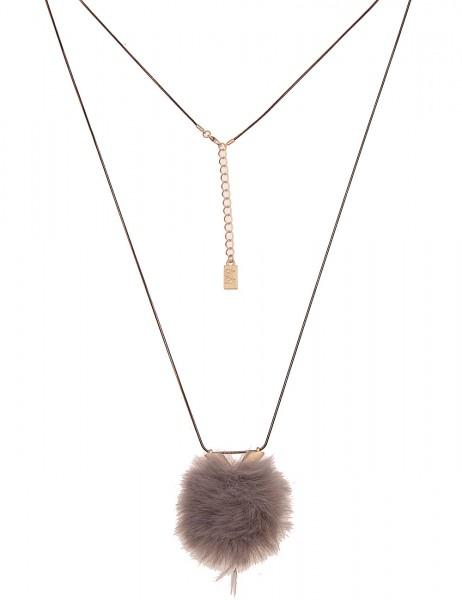 Leslii Damenkette Kunstfell-Bommel Fake-Fur Schlangen-Kette lange Halskette graue Modeschmuck-Kette