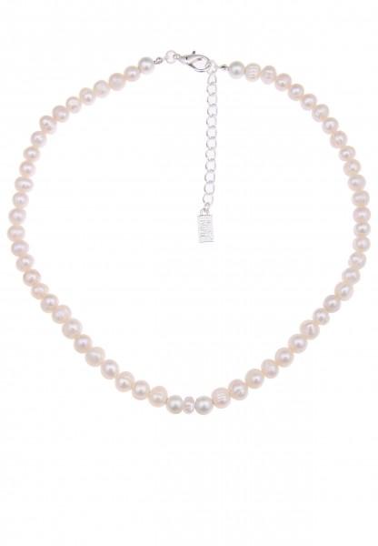 -50% SALE Leslii Perlenglanz Weiß | Trendige kurze Kette | Damen Mode-Schmuck | 46cm + Verlängerung