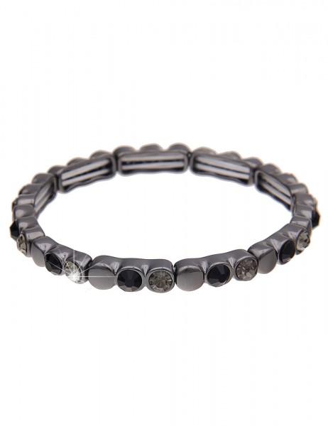 Leslii Damenarmband Armreif Funkel Look aus Metalllegierung mit Glassteinen Länge dehnbar in Schwarz