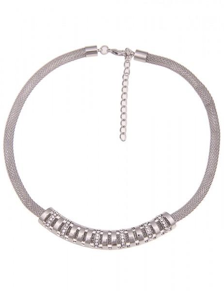 -50% SALE Leslii Damenkette Glitzer Streifen aus Metalllegierung mit Strass Länge 43cm in Silber Wei