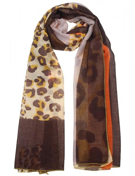 Leslii Damen-Schal Leo Look Animal-Print weicher Leo-Schal gelber Herbstschal Größe 180cm x 90cm in