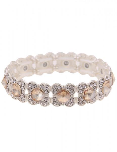 Leslii Damen-Armband Blüten-Armband Glitzer-Armreif Statement Blumen-Schmuck braunes Modeschmuck-Arm