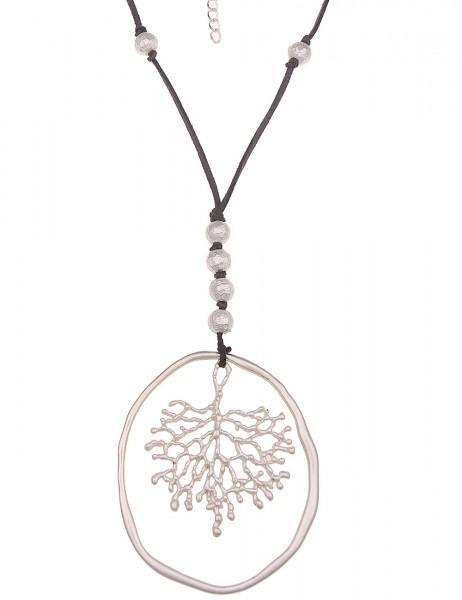 -70% SALE Leslii Halskette Statement Ast Silber Grau | lange Damen-Kette Mode-Schmuck | 85cm + Verlä
