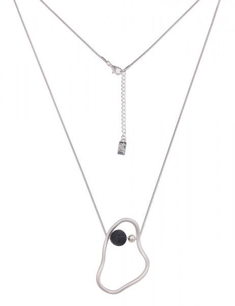 Leslii Damenkette Lava Kugel aus Metalllegierung mit Lavastein Länge 80cm in Silber Schwarz Matt