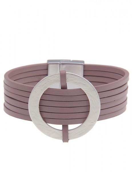 Leslii Damenarmband Matt Ring aus Lederimitat mit Metalllegierung Länge 19cm in Silber Altrosa