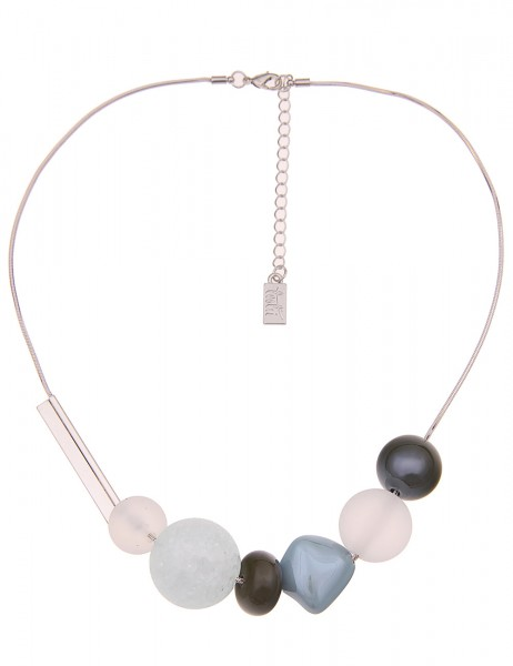 Leslii Damenkette Wasserspiel Kugel-Anhänger Collier Halskette Modeschmuck-Kette Länge 47cm in Blau