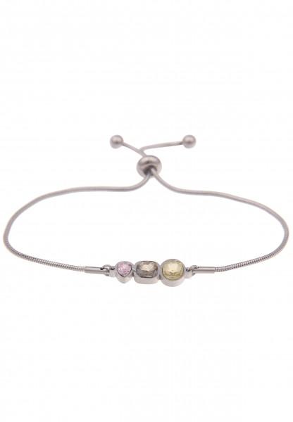 Leslii Damenarmband Glitzer-Armband Glas-Schmuck Stein silbernes Modeschmuck-Armband Armschmuck vers