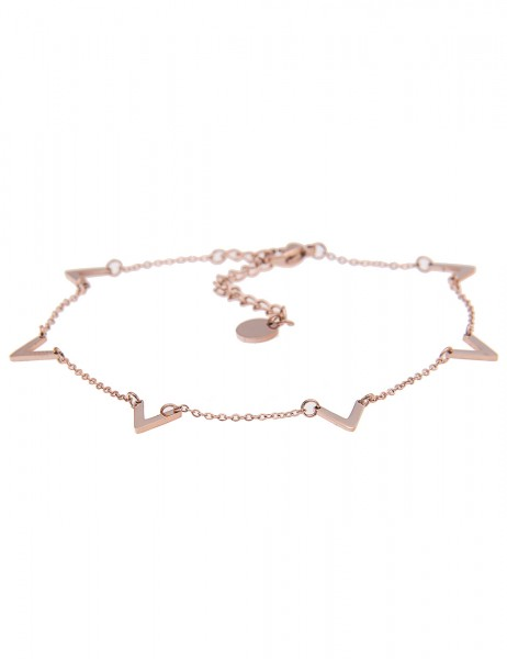 Leslii Armband / Fußkette V-Formen aus Metalllegierung Länge 21cm in Rosé