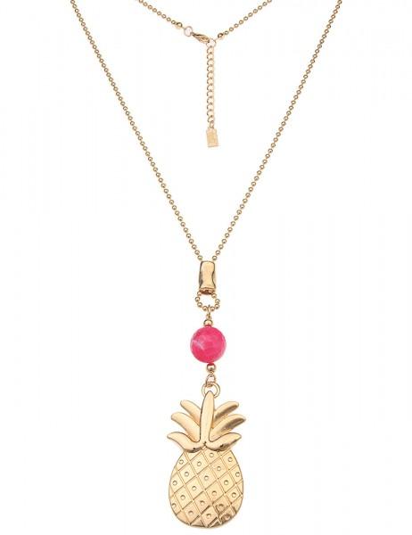 -50% SALE Leslii Damen-Kette Big Ananas Gold Pink Metalllegierung Naturstein 83cm + Verlängerung 220
