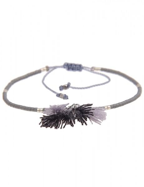 Leslii 4Teen Damenarmband Bommel Look aus Glasperlen mit Textil Tassel Länge 16cm verstellbar in Gra