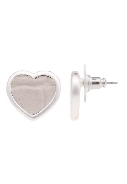 SALE Ohrringe Leder Herz Beige - 14/beige