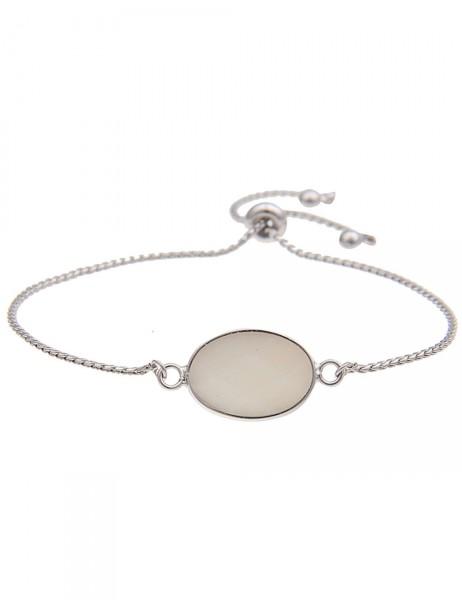 Leslii Damen-Armband Naturstein Oval Weiß Silber Länge verstellbar 210116081