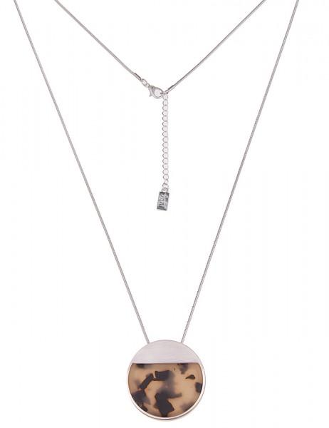 Leslii Damenkette Horn Look Hornkette lange Halskette Modeschmuck-Kette Länge 84cm in Silber Braun