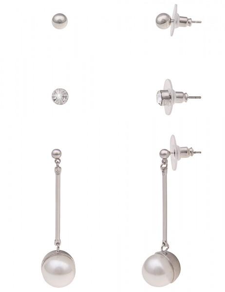 Leslii Damenohrringe Ohrstecker 3er-Set Perle Perlen-Ohrringe Ohrring-Set Ohrschmuck Modeschmuck Län