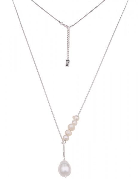 Leslii Damenkette Y-Kette Perlen aus Metalllegierung mit Süßwasser-Zuchtperle Länge 86cm in Silber W