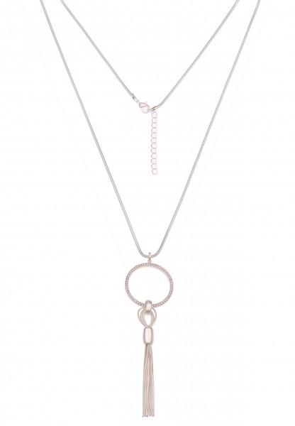 Leslii Damenkette Glitzer-Ring Strass-Kette Tassel Quaste Troddel lange Halskette silberne Modeschmu