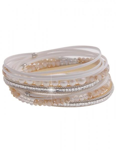 Leslii Damen Wickel-Armband Perlentraum aus Glasperlen mit Lederimitat Länge37cm Magnetverschluss in
