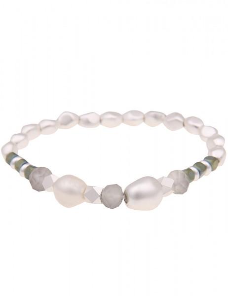 Leslii Damenarmband Material Mix Perlen-Armband Würfel-Armband Armschmuck silbernes Modeschmuck-Armb