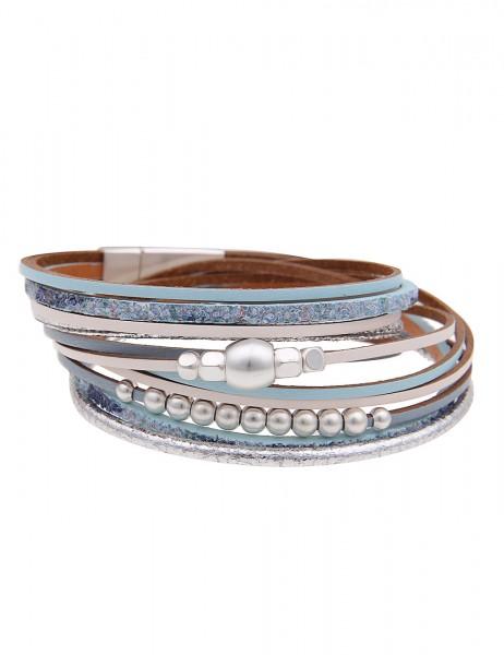 Leslii Damen Wickel-Armband Metallic Pailletten-Look Blau Metalllegierung Lederimitat 39cm mit Magne